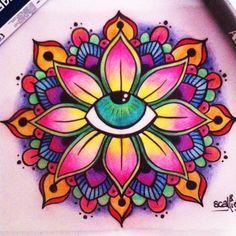 Eye mandala original tattoo design scalliewag in 2019 рисунк Mandala Artwork, Mandala Painting, Dot Painting, Mandala Doodle, Mandala Drawing, Doodle Art, Colorful Drawings, Art Drawings, Original Tattoos