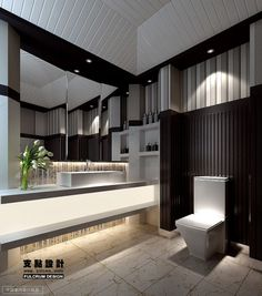 Contemporary modern bathroom with a white & black palette.  Love all the indirect lighting, textures and design concept.  Beautiful!