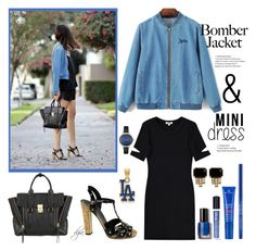 """""""Bomber Jacket and a dress"""" by dgia ❤ liked on Polyvore featuring 3.1 Phillip Lim, LnA, Gucci, Bobbi Brown Cosmetics, NYX, MDSolarSciences, CHROMAT, Loren Hope, LogoArt and Ted Baker"""