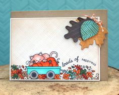 Wagon of Wishes Stamp | 4x6 photopolymer Stamp Set by Newton's Nook Designs.