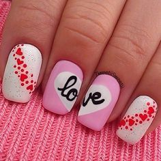 So why not dress up your nails with cute nail art too? Here are some easy-to-do nail art ideas for Valentine's Day. Get Nails, Love Nails, Pretty Nails, Pink Nails, White Nails, Cute Nail Art, Beautiful Nail Art, Valentine Nail Art, Valentine Hearts