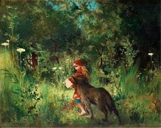 Carl Larsson (Swedish, 1853 – 1919) «Little red riding hood and the wolf in the fores» 1881