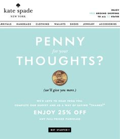 Kate Spade: Promoting online survey through Email