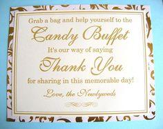 CUTE! 8x10 Flat Wedding Candy Buffet Sign in Metallic Gold and Cream Swirl - READY TO SHIP