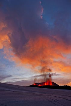 Eruption of volcano in Iceland