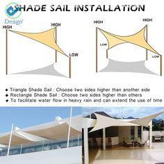 Deago x x Waterproof Sun Shade Sail UV Block Canopy Cover for Outdoor Patio Garden Beach Sand Triangle - Backyard Shade, Outdoor Shade, Pergola Shade, Shade Garden, Patio Shade Sails, Sails For Shade, Shade For Patio, Shade Ideas For Backyard, Deck Shade
