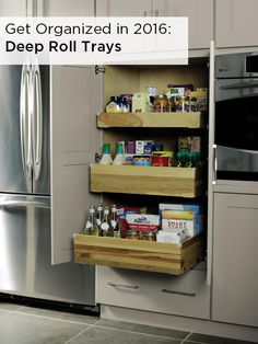 Store tall pantry items, like cereal boxes, upright and at your finger tips with convenient roll out trays, designed to make it easy for you to grab any item from the pantry. #DiamondLogixOrganization  Featured: Diamond's Deep Roll Trays in Pantry Top Unit