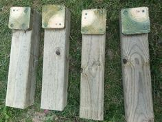 Here are the 4 X 4 pieces of wood that will become our bench legs