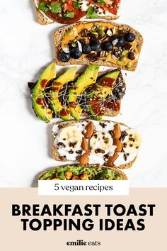 Amp up your plain piece of toast with these 5 Breakfast Toast Ideas! This list includes 5 healthy toast toppings with both sweet & savory vegan toast options. These make for an easy vegan breakfast for busy mornings! Vegan Avocado Recipes, High Protein Vegan Recipes, Vegan Breakfast Recipes, Vegan Snacks, Protein Snacks, Healthy Snacks, Homemade Tofu, Toast Ideas, Breakfast Toast