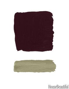 """Aubergine & Gray-Green """"Aubergine on the walls conveys a sense of deep space, like a Mark Rothko painting. It's expansive and tonally rich. Then I'd be audacious and mix it with an equally provocative trim color like this citrony gray-green. It might be too much for a bedroom or a living room, but try it in a study, a library, or a powder room."""" –Whitney Stewart  Benjamin Moore Caponata AF-650; Thicket AF-405"""