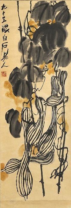 GOURDS, Qi Baishi (齊白石, 1864~1957)  was an influential Chinese painter, noted for the whimsical, often playful style of his watercolor works; born to a peasant family from Xiangtan, Hunan, he became a carpenter at 14; learned to paint by himself.