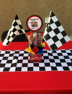 Winning centerpiece for Disney Cars birthday party.  See more birthday parties for kids at www.one-stop-party-ideas.com