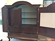 How to Make a Sewing Armoire - Southern Hospitality Sewing Closet, Sewing Nook, Sewing Room Design, Craft Room Design, Sewing Table, Sewing Room Furniture, Space Saving Furniture, Diy Furniture, Upcycled Furniture