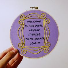 This hoop is 6 inch. If you are a Friends' fan, you're gonna need this embroidered hoop to decorate your wall Diy Embroidery Patterns, Hand Embroidery Art, Cross Stitch Embroidery, Cross Stitch Patterns, Broderie Simple, Cd Art, Fun Crafts, Creations, Handmade