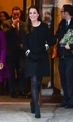 """The British royal channeled her inner New Yorker wearing a black military-style """"Washington"""" coat by Goat for her visit to Harlem's Northside Center for Child Development."""