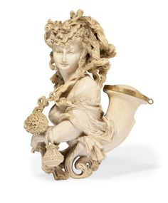 A LARGE AUSTRIAN MEERSCHAUM PIPE CIRCA 1875 - Carved as the head of a lady carrying a porte-monnaie and wrist corsage and original carved ivory and horn stem decorated with the head of a leopard with ruby eyes, and with gilt-metal mounts and amber mouthpiece.