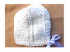 bonnet béguin bébé naissance - 1 mois blanc avec ruban satin pour baptême : Mode Bébé par zoune-univers-bebe