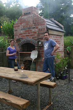 Jamie's and Katrina's wood fired brick pizza oven with temperature gauge. Three different thermometers and thermocouples positioning installed for measuring cooking temperature in their backyard outdoor brick oven. Brick Oven Outdoor, Pizza Oven Outdoor, Outdoor Cooking, Outdoor Kitchens, Wood Oven, Wood Fired Oven, Wood Fired Pizza, Bricks Pizza, Wood Pizza