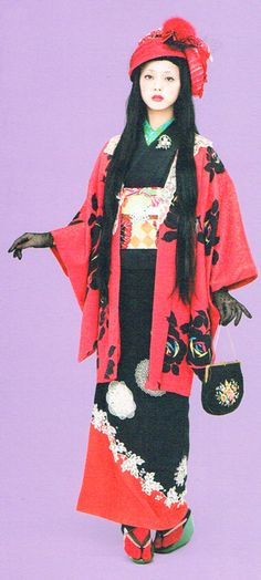 50's pochette matched with kimono is always mint