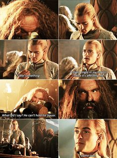 I love this scene. Legolas seems genuinely concerned for his well being when his fingers begin to tingle. And then he seems so cocky when Gimli passes out.