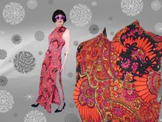 60s Psychedelic Maxi Dress - Thigh High Slit - Sleek Asian Style Hostess Gown by LunaJunctionVintage on Etsy