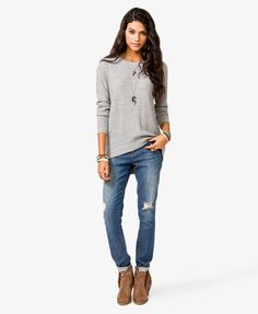 Loose sweater + skinny jeans + ankle boots