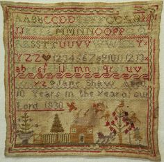 SMALL EARLY 19TH CENTURY HOUSE SAMPLER BY JANE SHAW AGED 10 - 1830