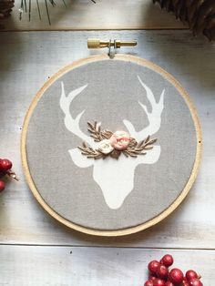 Grey and White Deer Embroidery Ornament. 4 Inch by KimArt on Etsy