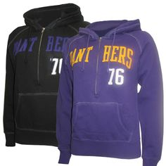 Camp David women's black or purple 1/2 zip hooded sweatshirts with distressed Panthers 76 twill in purple or gold. $59.99