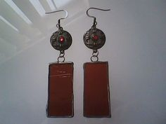 Hand painted stained glass earrings by Gabriel Studios Art