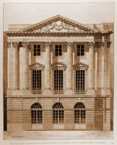 Architectural drawing. Chateau de Versailles. projects of Mansart and Gabriel. http://hadrian6.tumblr.com
