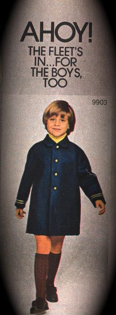 1970s Simplicity Nautical Style Childs Winter Spring COAT Pattern Boys Girls vintage sewing pattern by mbchills