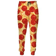 Pizza Sweatpants ($80) ❤ liked on Polyvore featuring activewear, activewear pants, sweat pants, red sweat pants and red sweatpants
