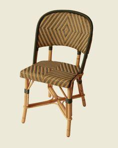 chaise rotin restaurant terrasse Chambord tissé couleurs beige vert olive