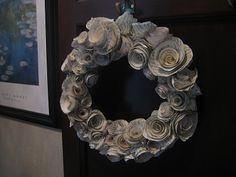 Kelly's Paper Rosette book page wreath.  Not a tutorial.