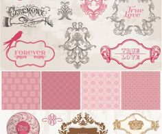 Vintage decorative wedding frames vector