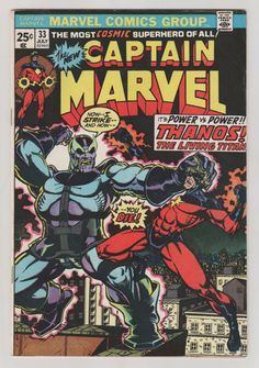 Captain Marvel; Vol 1, 33 Bronze Age Comic Book. VF.  July 1974.  Marvel Comics #captainmarvel #thanos #comicsforsale