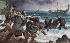Irish Gael attack a viking raiding party. Painting by Angus McBride: