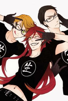 Kuroshitsuji (Black Butler) - Grell Sutcliff, Ronald Knox, William T. Black Butler Funny, Grell Black Butler, Black Butler Kuroshitsuji, I Love Anime, Anime Guys, Vocaloid, Manhwa, Manga Anime, Book Of Circus