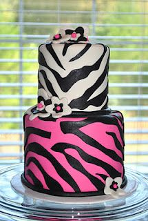 Zebra Print Cake bottom purple middle green and add a top to be blue!