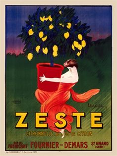Zeste by Cappiello 1906 French- Beautiful Vintage Poster Reproduction. This vertical French advertisement features a woman carrying a potted lemon tree. She is in a red dress and can barely lift the large red pot. Giclee advertising print. Classic Posters