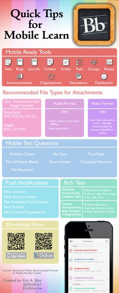 Tips for creating a mobile compatible course for Blackboard Mobile Learn. Continue Reading INFOGRAPHIC: Quick Tips for Blackboard Mobile Learn Blackboard App, Blackboard Online, Blackboard Learn, 21st Century Classroom, Image Formats, Right To Education, Online Classroom, Video X, Learning Courses