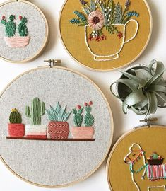 Cactus Embroidery, Wooden Embroidery Hoops, Learn Embroidery, Hand Embroidery Stitches, Embroidery For Beginners, Embroidery Hoop Art, Hand Embroidery Designs, Embroidery Techniques, Ribbon Embroidery