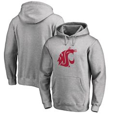 Washington State Cougars Fanatics Branded Big & Tall Primary Team Logo Pullover Hoodie - Heathered Gray