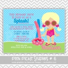 Girl Pool Party Birthday Personalized Party Invitation or Thank You Card :6
