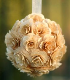 Rustic Birch Wood Roses Kissing Ball Decoration by braggingbags, $24.99