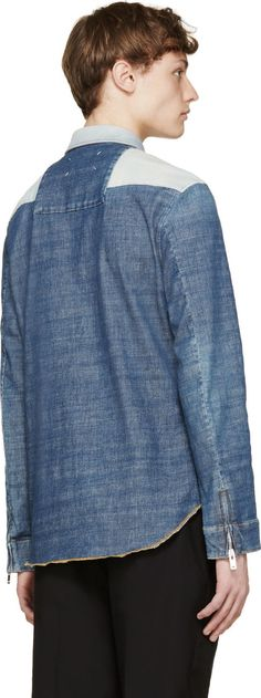 Maison Margiela: Blue Patchwork Denim Shirt | SSENSE