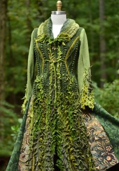 Fairy Coat. Inspired by nature, this one of a kind boho sweater coat is created from boiled, wet felted upcycled wool sweaters, and cashmere. It is warm, and soft. The texture is a tactile dream!