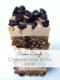 Cookie Dough Cheesecake Bites #nobake  #glutenfree #vegan & #raw options included #vancouver #bestrecipesever #bikinibody http://www.damyhealth.com/2013/03/12-healthy-delicious-cheesecake-recipes/