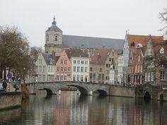 Bridge across a canal in Bruges, Belgium
